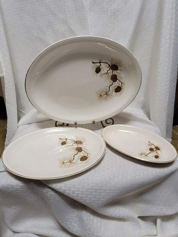 "3 Paden City Pine cone pattern Mid Century Serving Trays 14"" , 12"" & 9 1/4"" Set"