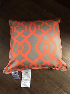 4 BRAND NEW OUTDOOR PILLOWS GRAY & CORAL