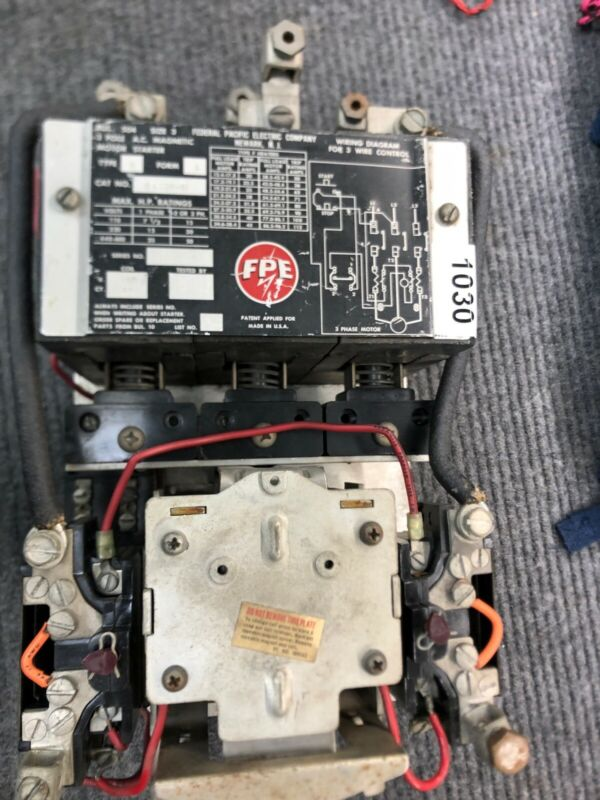 Federal Pacific Size 3 Motor Starter 3 pole Phase 480v coil 5A331-11 Contactor