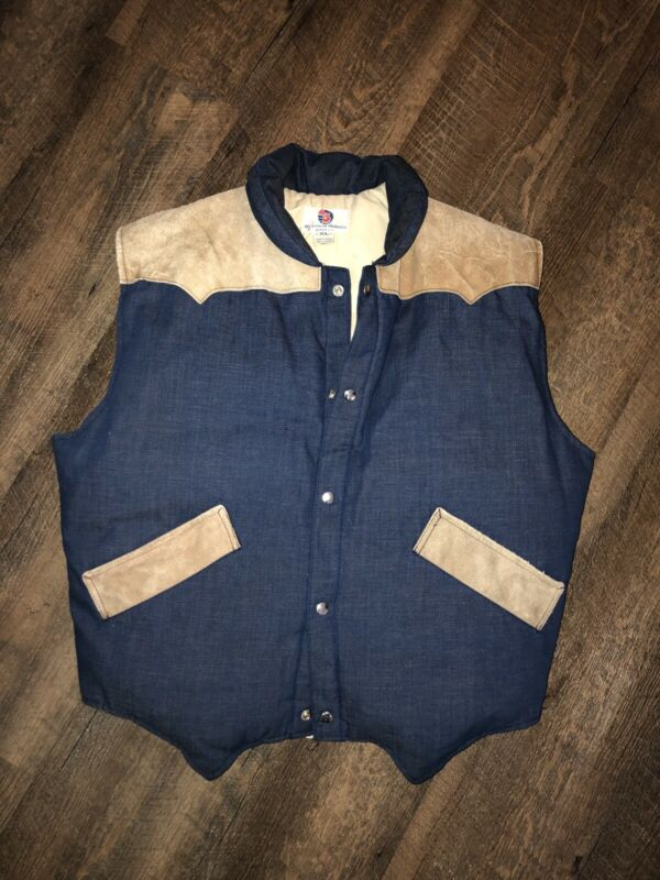 Mens Vintage Ski Athalon Denver USA Down Puffer Vest Size XL Denim & Leather