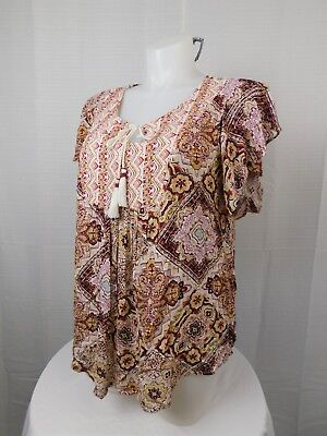 Style & Co Plus Size Tie-Front Tassel Peasant Top 3X Mixed-Print #6482