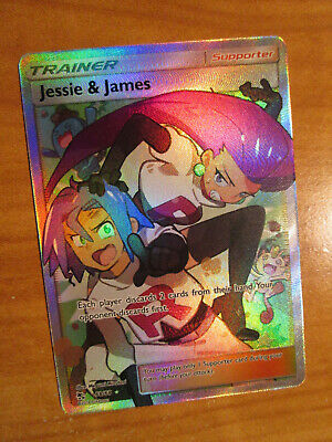 NM FULL ART Pokemon JESSIE & JAMES Card HIDDEN FATES Set 68/68 Sun Moon Trainer