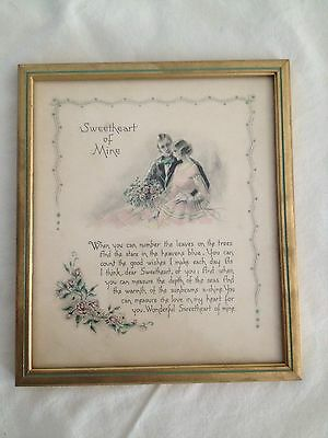 "Antique Victorian Romance  Motto Print "" Sweetheart of Mine"" Original Box"