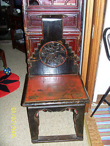 Antique-Burmese-Cambodian-Carved-Painted-Ladies-Chair-with-birds-flowers