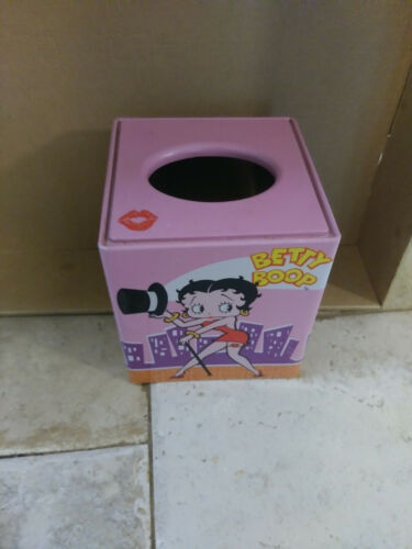 Vintage BETTY BOOP Pink Metal Tissue Box Cover  2000 Tin Box Company