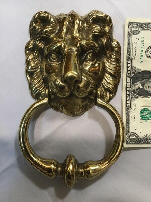 vintage Victorian style Lion Head Door Knocker Handle Brass England by Peerage