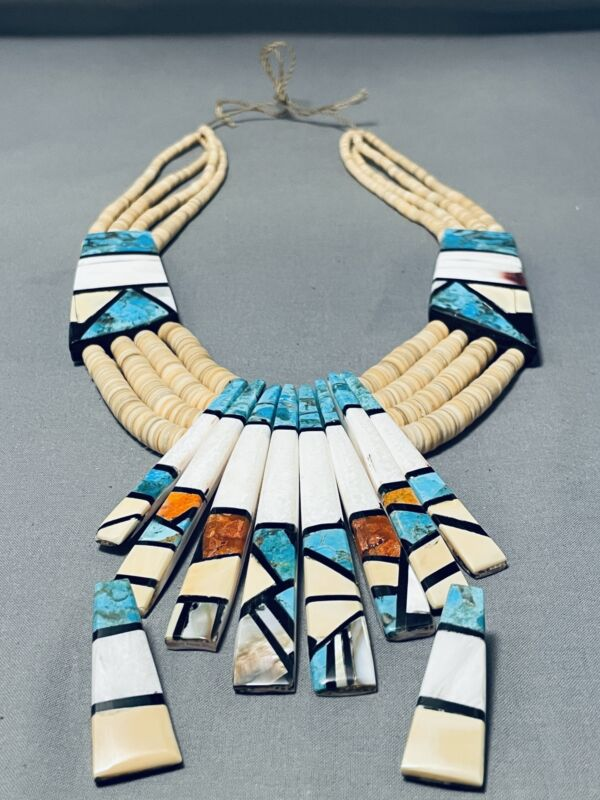 ONE OF THE LARGEST SANTO DOMINGO TURQUOISE INLAY NECKLACE EVER