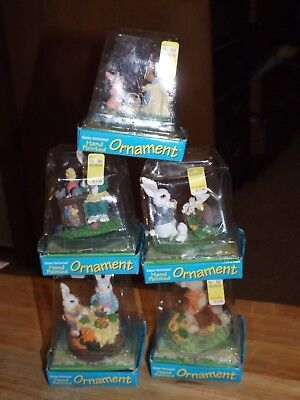 Lot of 5 Easter Unlimited hand painted Easter Bunny ornaments (NIB) - Bunny Ornaments