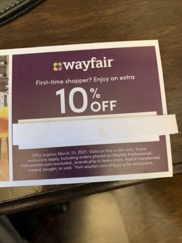 WAYFAIR Coupon Promo Code - 10 Off First Time Order - Exp. 6-14/21 - $7.00