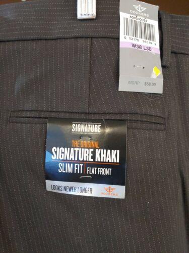 NWT MENS DOCKERS D1 SLIM FIT FLAT FRONT SIGNATURE KHAKI PANT