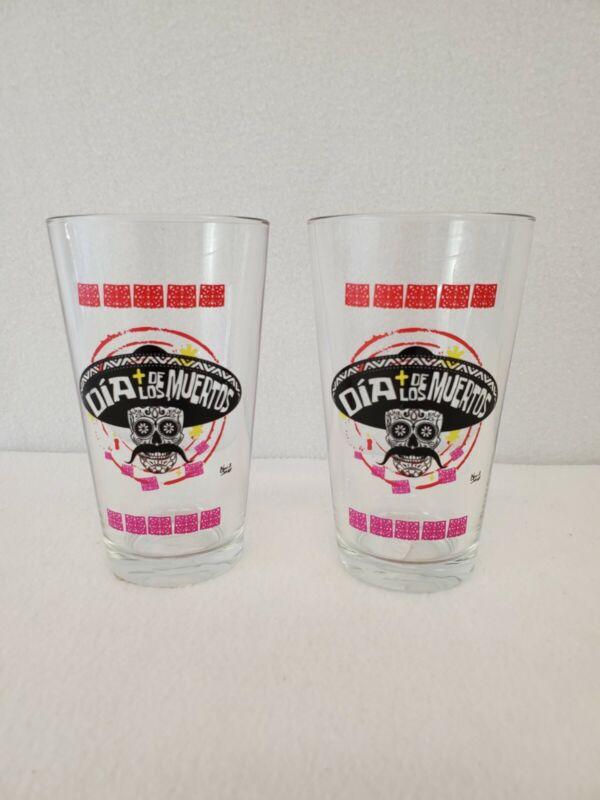 2 Dia de Los Muertos Sugar Skull 16oz Glass Drinking Day of the Dead cup Pint