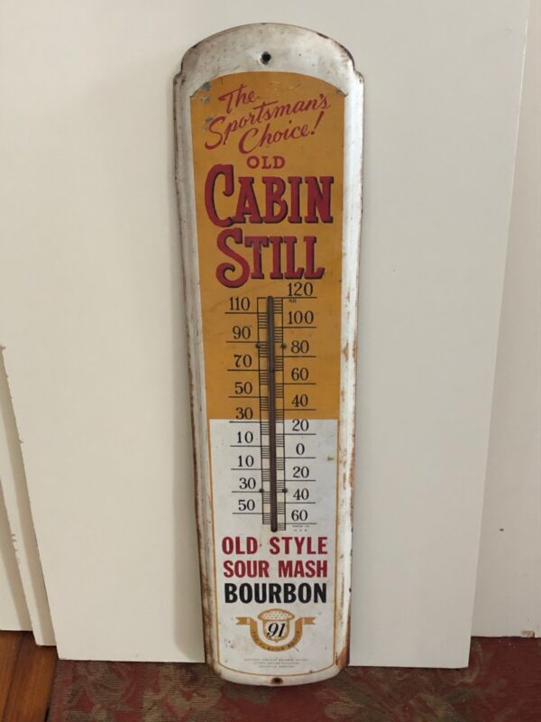 Old Cabin Still Kentucky Bourbon Advertising Thermometer, working thermometer