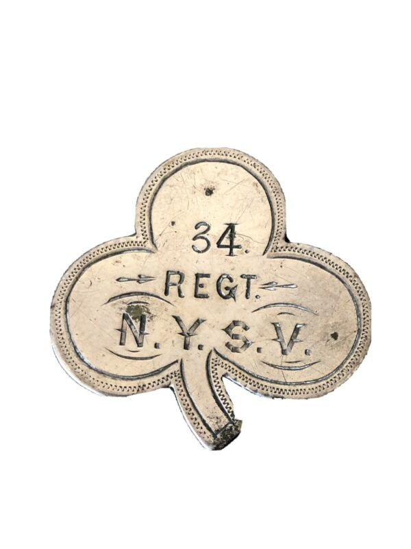 CIVIL WAR ORIGINAL 34th NEW YORK VOLUNTEERS NYSV 2ND CORPS ID BADGE DOG TAG