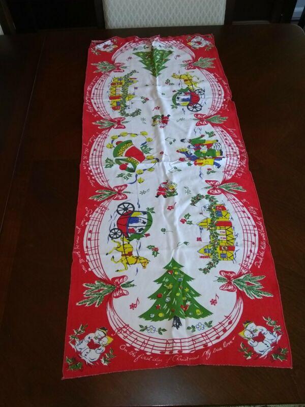 """Vintage Christmas Table Runner 37""""*16""""  Christmas carol themed."""