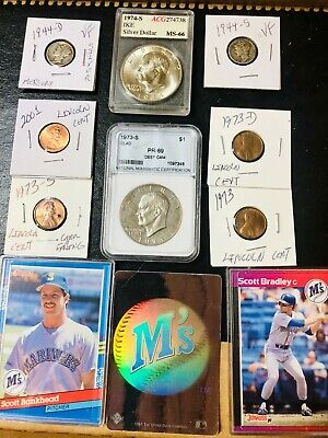 Junk Drawer 3 SILVER 1974-S IKE + SILVER 1944-S & 1944-D  + 1974-S IKE +2 OLD BB