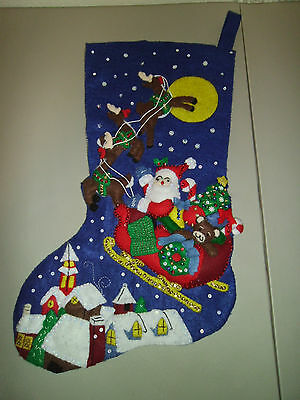 Santa Claus Over The Rooftops Finished Jumbo Stocking Very Detailed New Handmade