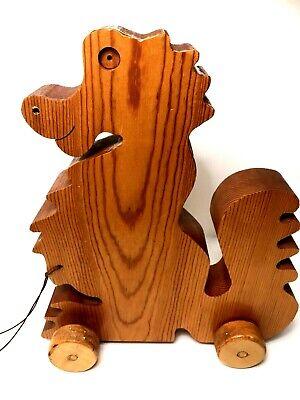 Dragon Pull Toy (VINTAGE Handmade WOODEN PULL TOY Alligator, Crocodile, Dragon, Florida)