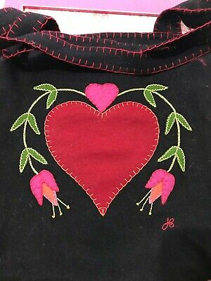NEW JAN CONSTANTINE BLACK FELT FLORAL/HEART BAG