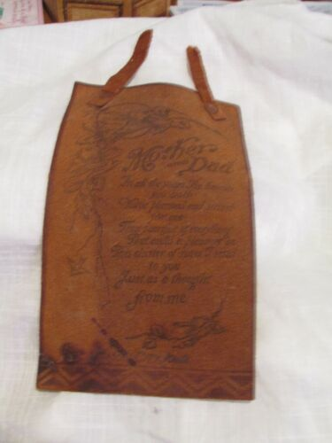 Antique 1929 Printed Leather Piece To Mother and Dad Poem Mason City, Iowa