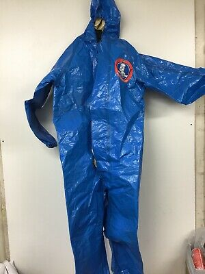 Msa Blue Max Hazmat Splas Suit With Monkey Grip Gloves Incl. Container Used