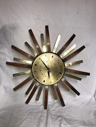 Vintage MCM United Metal Goods Starburst Sunburst Clock