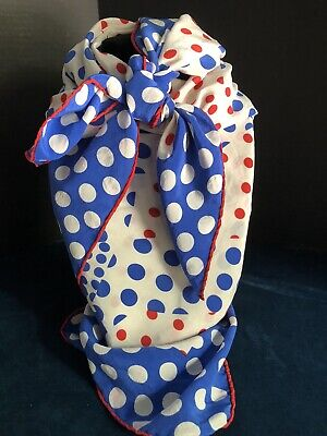Vintage Scarf Styles -1920s to 1960s Vintage Patriotic Red White And Blue Silk Blend Scarf With Polka Dots. Large Sq $15.00 AT vintagedancer.com