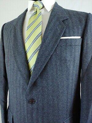 Daks London Tweed 2Bttn Blazer Sport Coat Jacket Herringbone Navy Grey Wool 40R