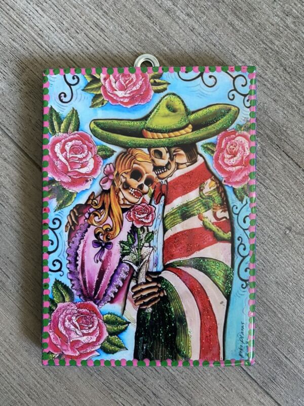"""Mexican Folk Art Hand Painted Skeletons Paintings 4"""" x 5"""""""