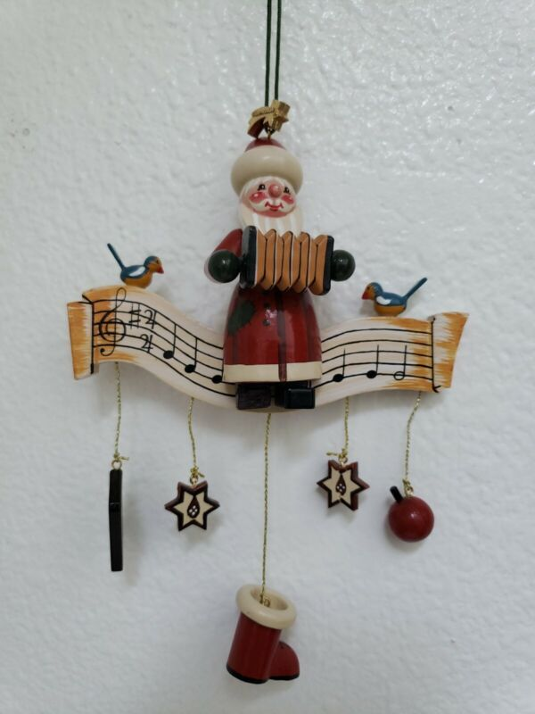 KATHE WOHLFAHRT Lg Wooden Musical Christmas Ornament w/ Santa Playing Accordion