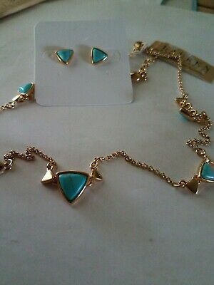 RALPH LAUREN NECKLACE AND EARRING SET GOLDTONE FAUX TURQUOISE