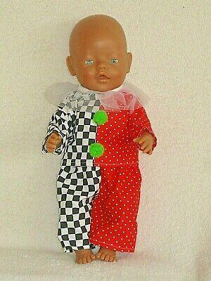 Puppenkleidung Neu Set Clown - Kostüm für Baby Born 43 - Puppe Kostüm Kleidung