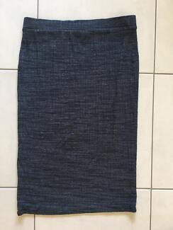 Grey Stretch Pencil Skirt