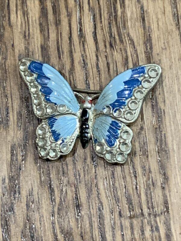 Vintage Silver Tone Blue Butterfly Brooch Pin