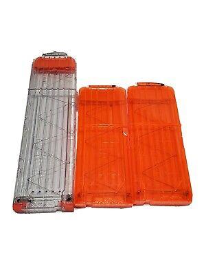 Lot 3 NERF N-Strike Round Magazine Clip Orange for Soft Dart Guns 12 and 18