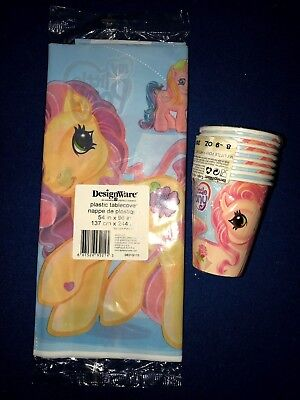 2 MY LITTLE PONY TABLE CLOTHS PLASTIC 2 PACKS 8 EACH CUPS GIRL BIRTHDAY PARTY @@
