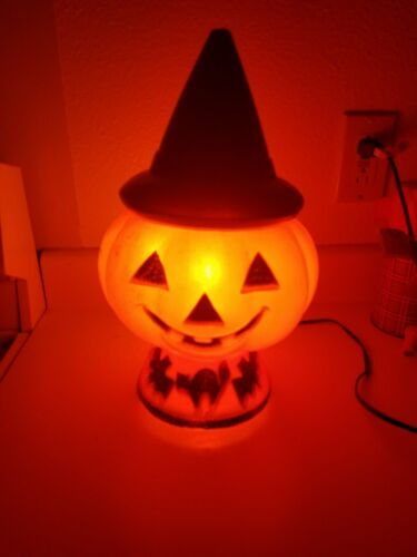 "Vintage Halloween Light Up Blow Mold Witch Pumpkin Cat and Bat 13"" Working"
