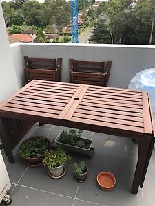 Outdoor table with 4 fold chairs and 2 benches Epping Ryde Area Preview