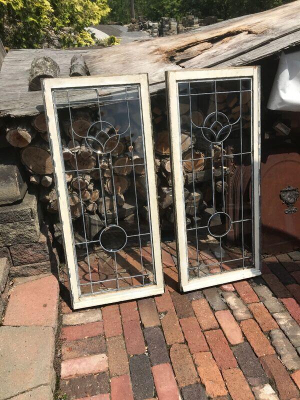 SG2996 2 Av Price each Beveled and leaded glass cottage windows 21.75 x 51