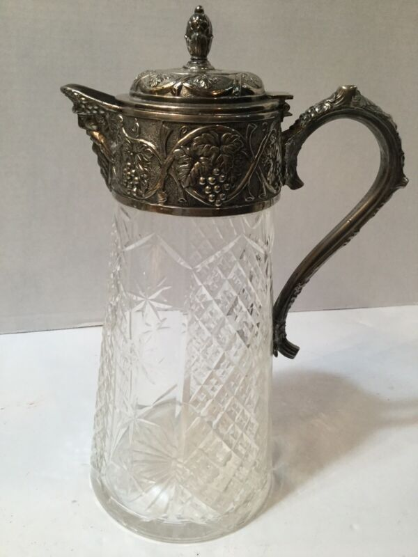Antique Cut Crystal & Silver Plate Claret Jug Very Fine Quality 1920s