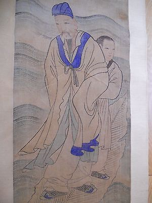 Fine Korean Joseon Dynasty Father & Son Scroll - Natural Color on Hemp Cloth