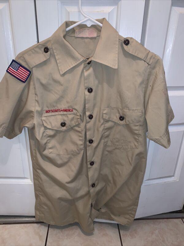 Boy Scout BSA UNIFORM SHIRT Men's Small Short Sleeve Tan L22