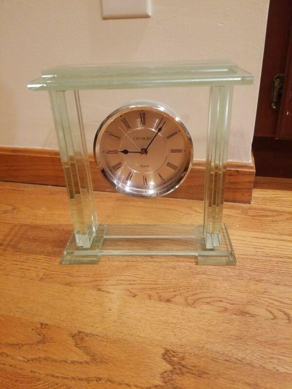 "DANBURY Glass Clock Things Remembered Mantle Shelf Desk Quartz 10"" T x 9.5"" W"