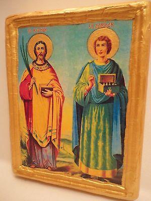 Saint Cosmas   Damien Agios Kosmas   Damianos Ag  Anargyroi  Orthodox Icon Ooak