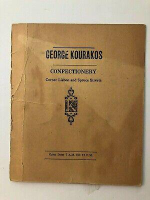 Vintage Menu, George Kourakos Confectionary, Lewiston, Maine
