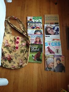 11 crochet and knitting books and new project bag
