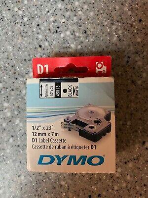 Dymo Standard D1 45013 Labeling Tape Black Print On White Tape 12 W
