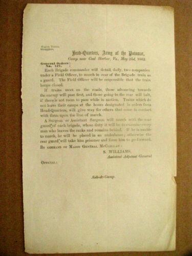 CIVIL WAR COLD HARBOR FIELD ORDER 1862