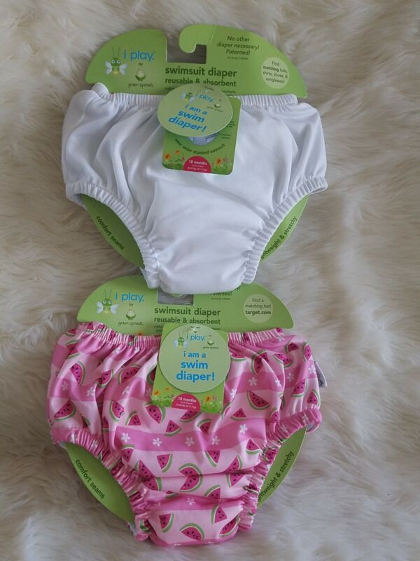 2 NEW Baby Girl Toddler Swim Diaper Reusable iPlay UPF 50+ 18 Months 22-25 lbs