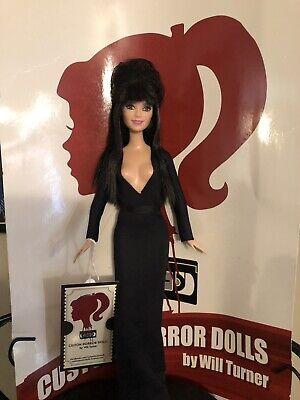 Halloween Horror Dolls (SALE! Elvira, Mistress of the Dark CUSTOM HORROR DOLL OOAK Halloween 12 Inch)