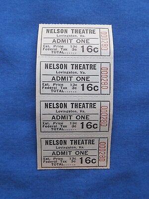 Vintage 16 Cent Nelson Theatre Tickets (Strip of 4) Drive-In Movie/Cinema - VA 1